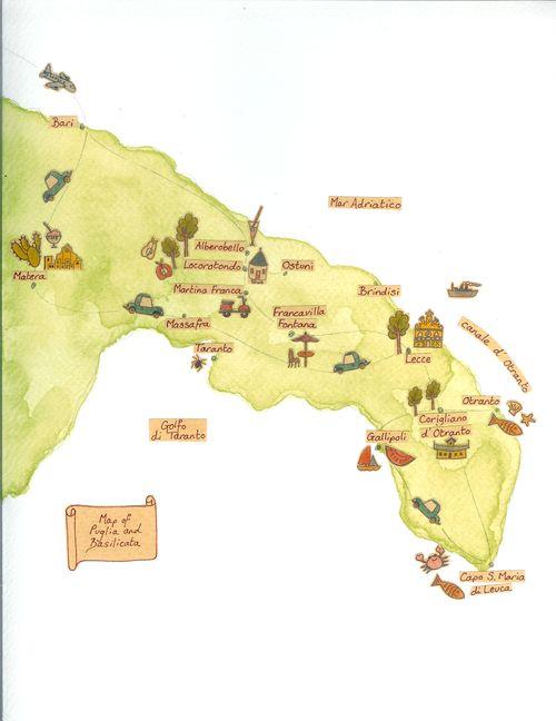 Map of Puglia and Basilicata